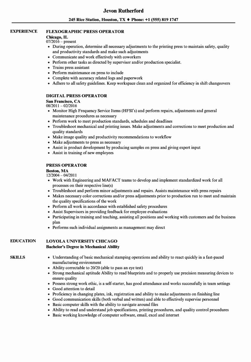 Cnc Machine Operator Resume Sample Cnc Machinist