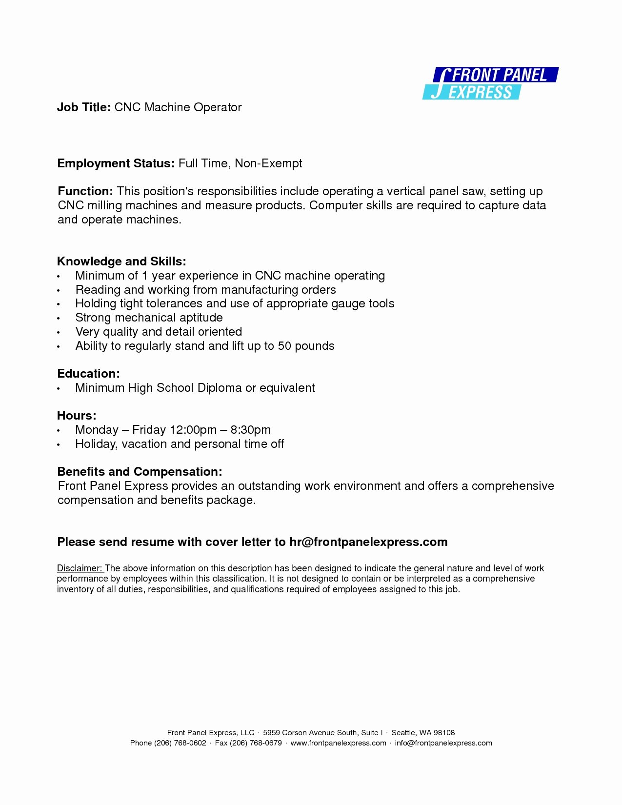 Cnc Machine Operator Sample Resume Cnc Operator Resume Cnc