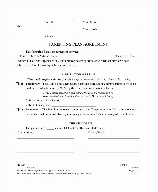 Co Parenting Agreement Sample Image Collections