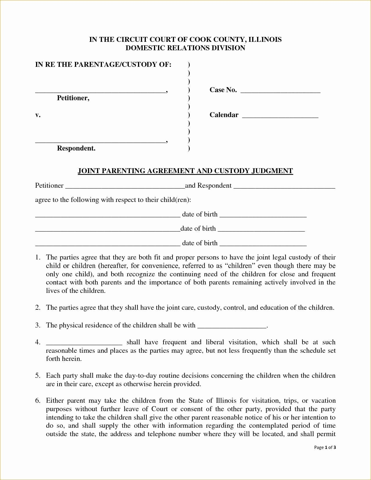 Co Parenting Agreement Template Brilliant 14 New Notarized