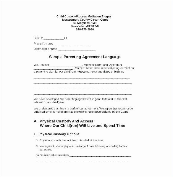 Co Parenting Agreement Template New Visitation Agreement