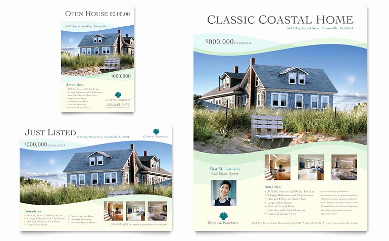 Coastal Real Estate Flyer & Ad Template Word & Publisher