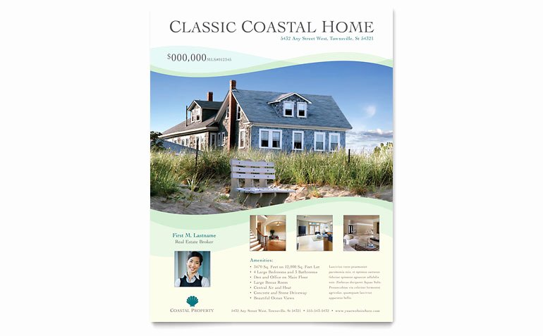 Coastal Real Estate Flyer Template Word & Publisher