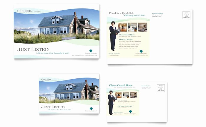 Coastal Real Estate Postcard Template Design