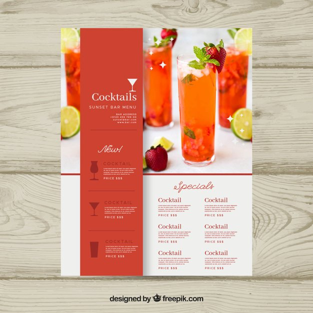 Cocktail Menu Template with Photo Vector