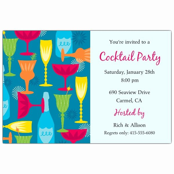 Cocktail Party Blue Invitations