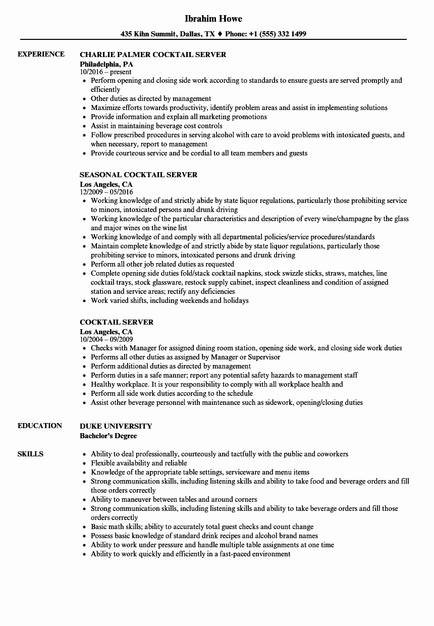 Cocktail Server Resume Samples