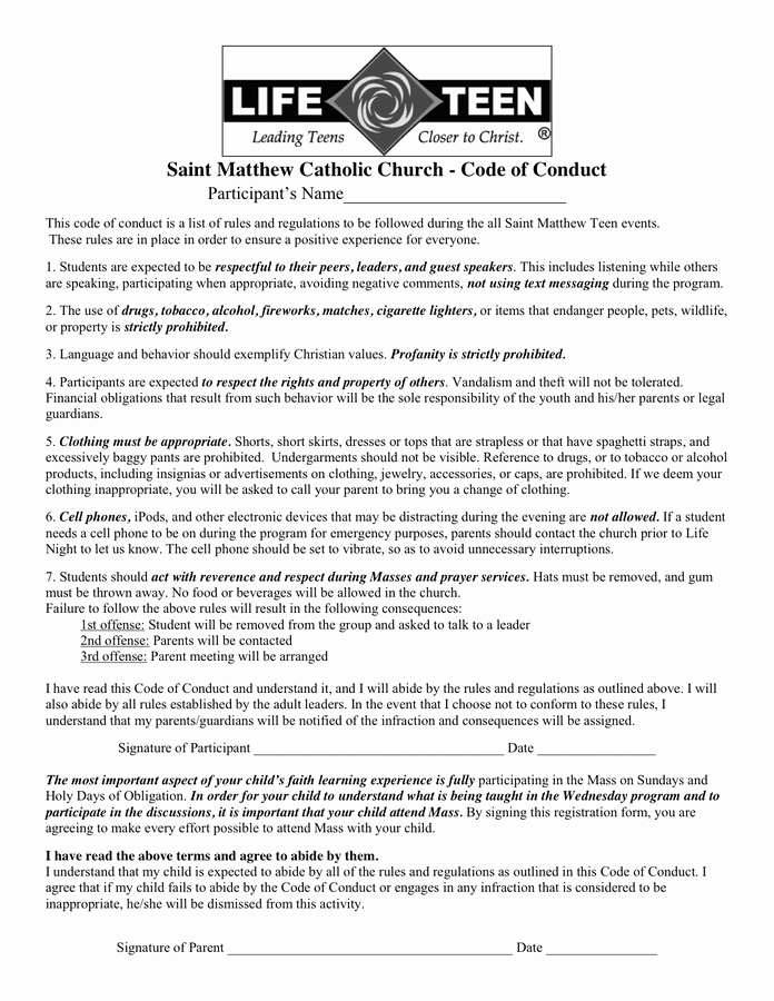 Code Of Conduct Example In Word and Pdf formats