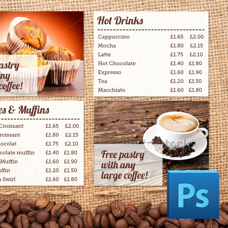 Coffee Shop Menu Board Psd Template