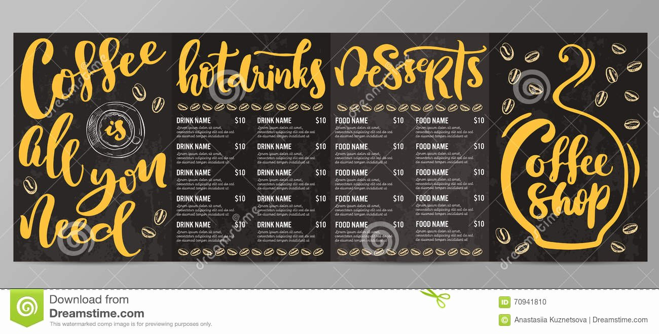Coffee Shop Menu Template Stock Illustration Image