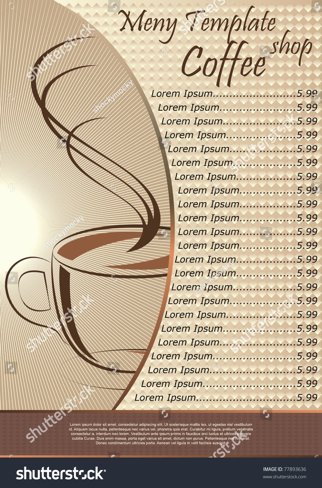 Coffee Shop Menu Template Vector Illustration