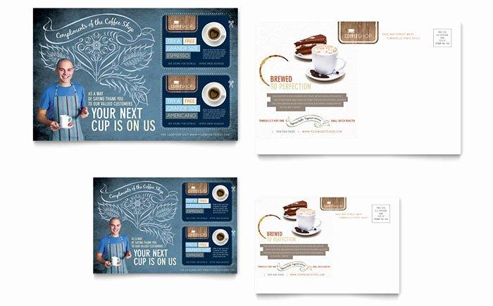 Coffee Shop Postcard Template Design