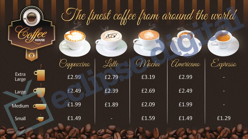 coffee shop version 2 menu board psd template
