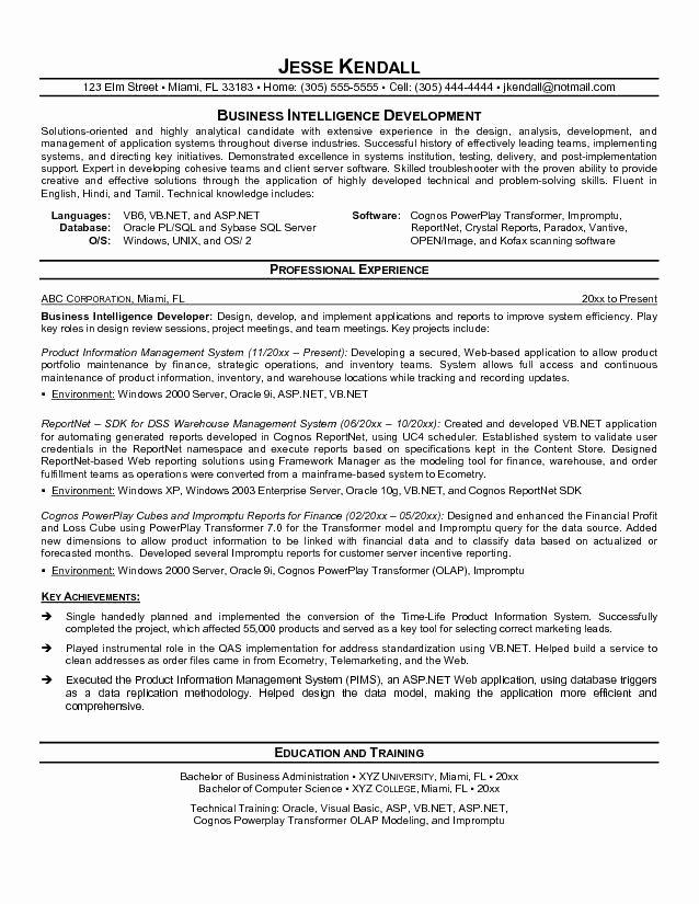 Cognos Developer Resume format