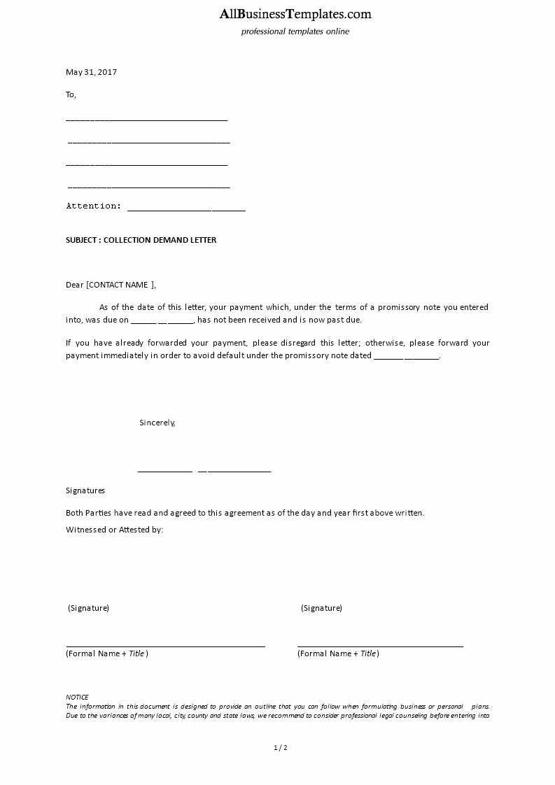 Collection Demand Letter Template
