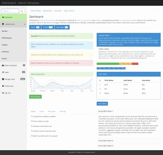Collection Of 40 Free and Premium Bootstrap Admin themes