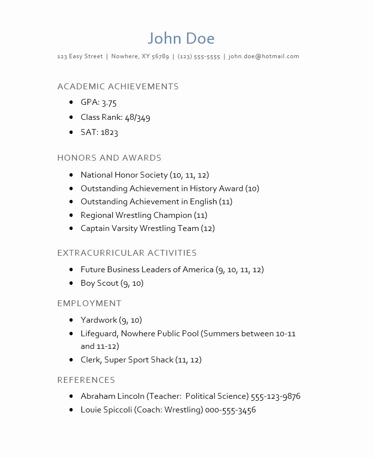 College Admission Resume Examples
