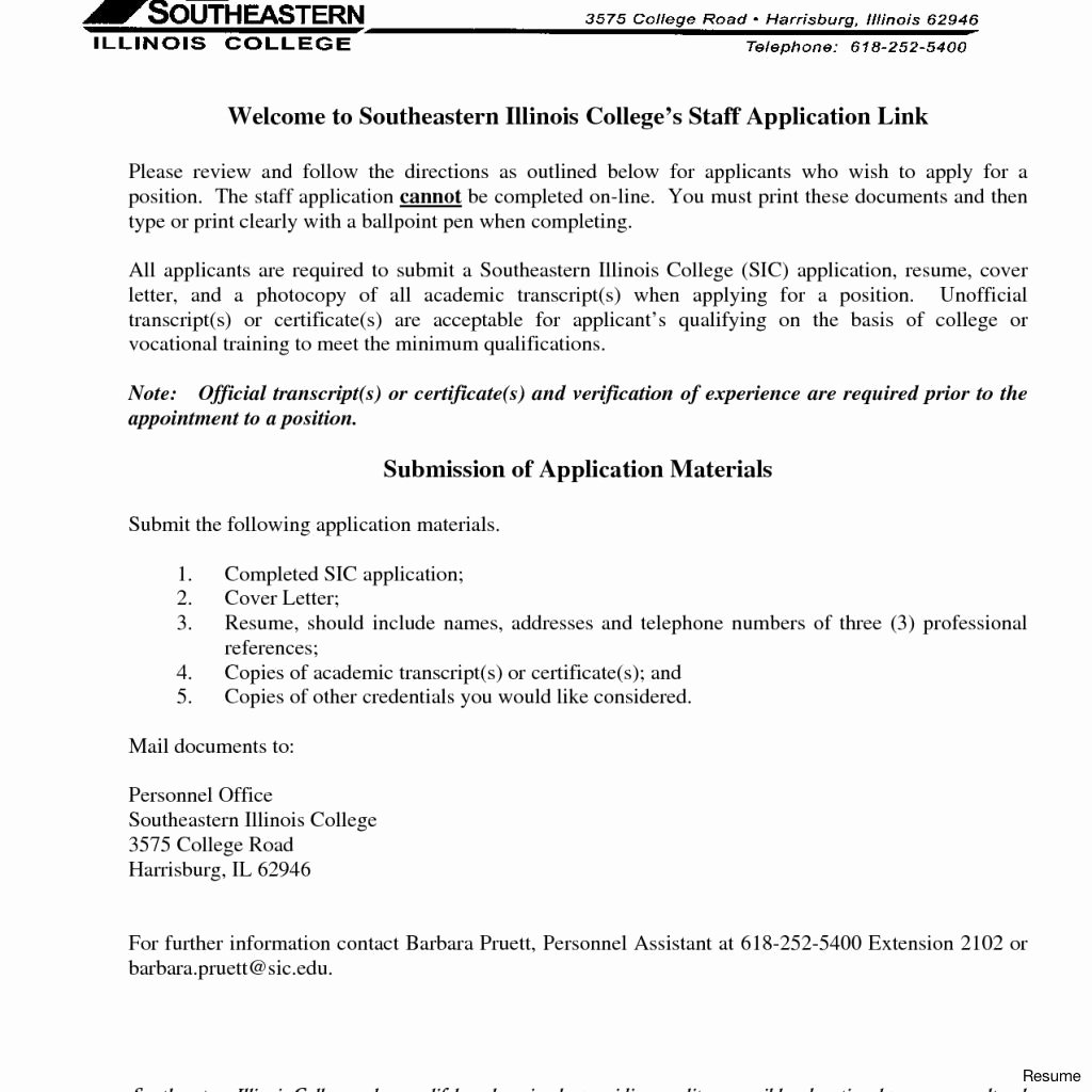 College Admissions Cover Letter format