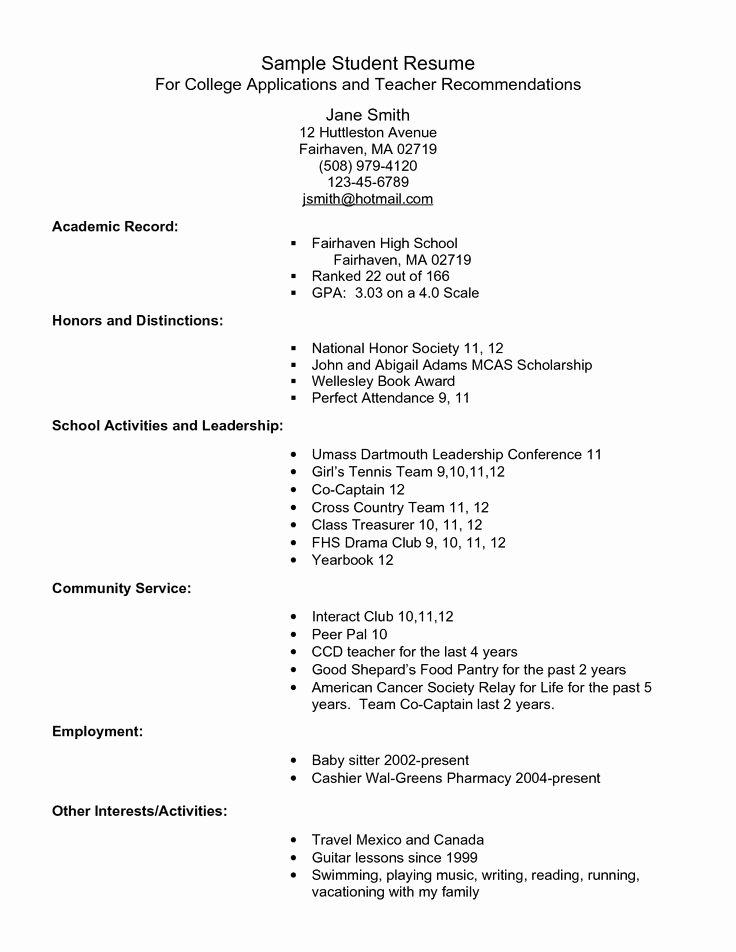 College Admissions Resume Example