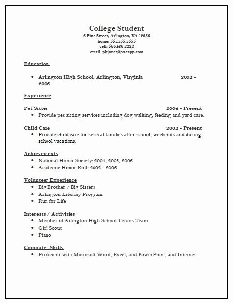 College Admissions Resume Samples Best Resume Collection