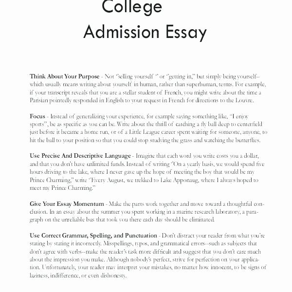 College Application Personal Essay Examples Writing A