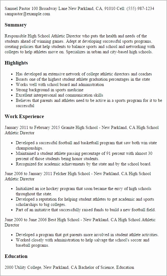 College athlete Resume Best Resume Collection