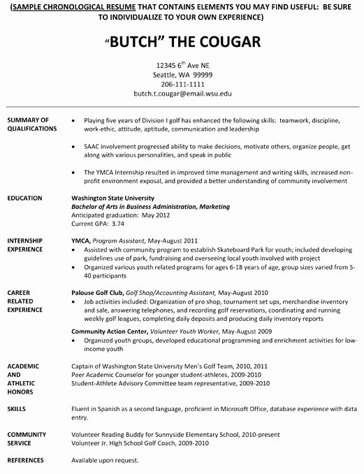 College athlete Resume Sample