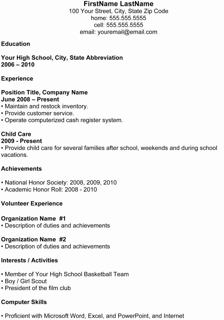 College Resume format for High School Students Best