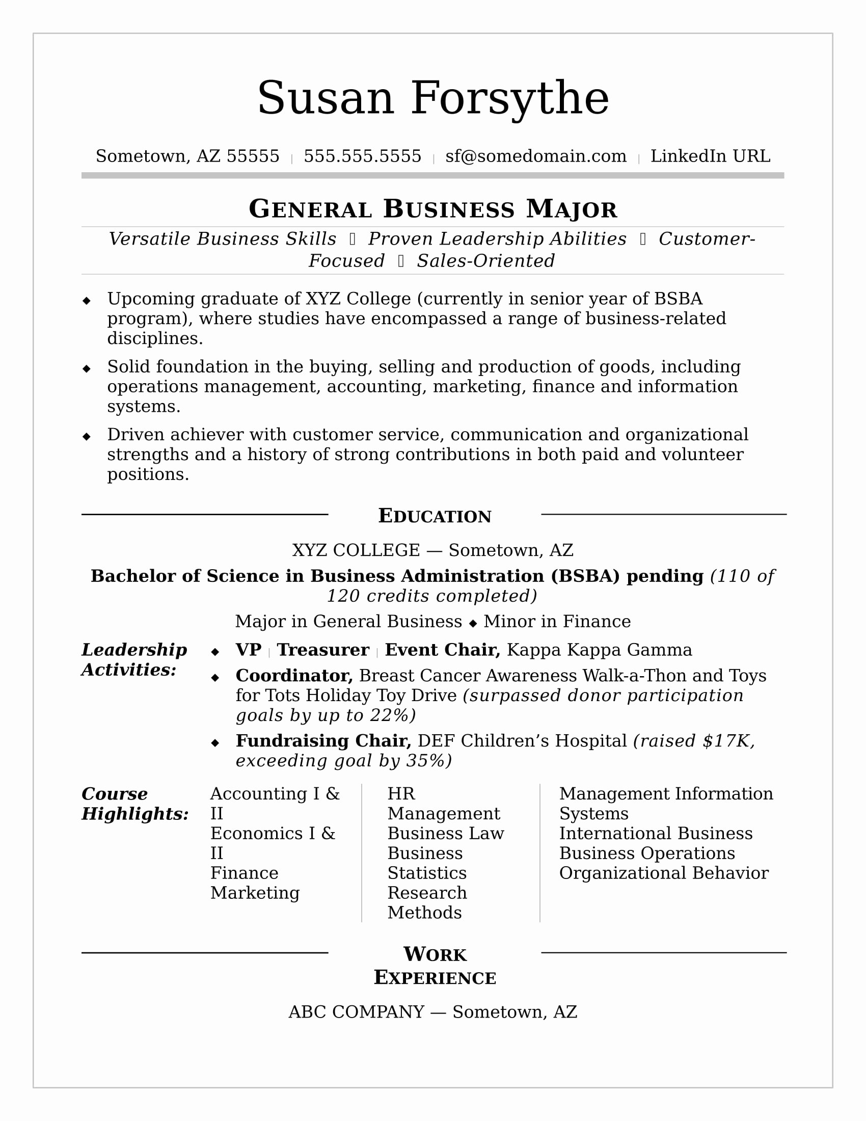 College Resume Sample