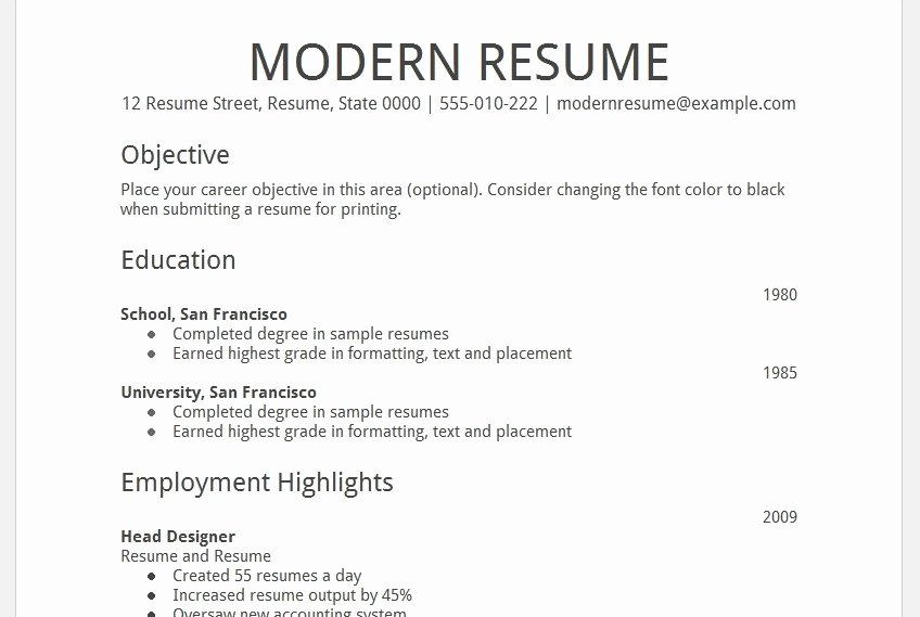 College Resume Template Google Docs