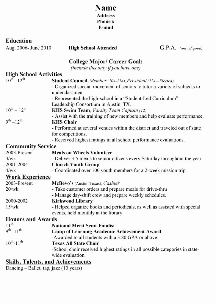 College Resumes for High School Seniors Best Resume
