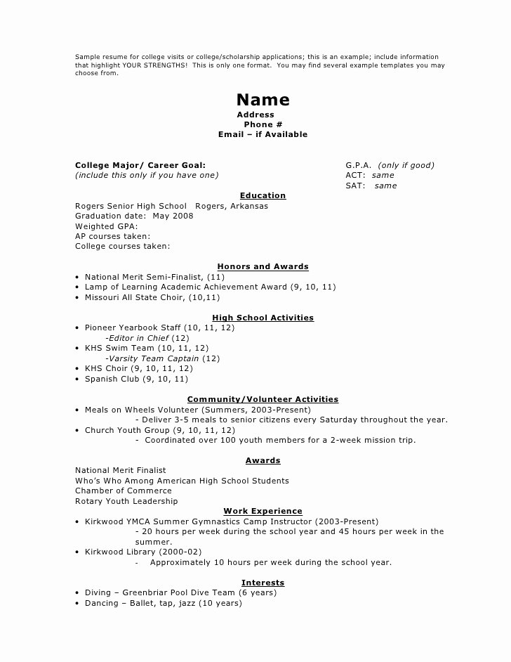 College Scholarship Application Resume Template