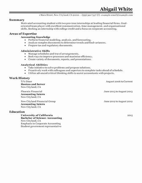College Student Internship Resume