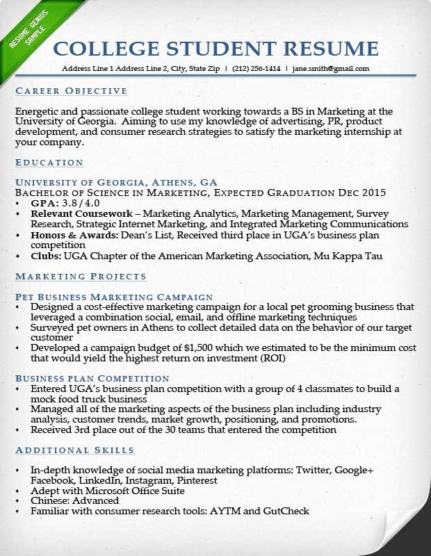College Student Resume Examples Best Resume Gallery