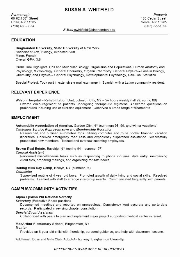 College Student Resume Examples F Resume