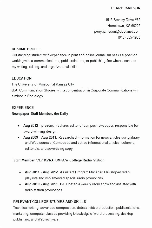College Student Resume Template Google Docs Resumes