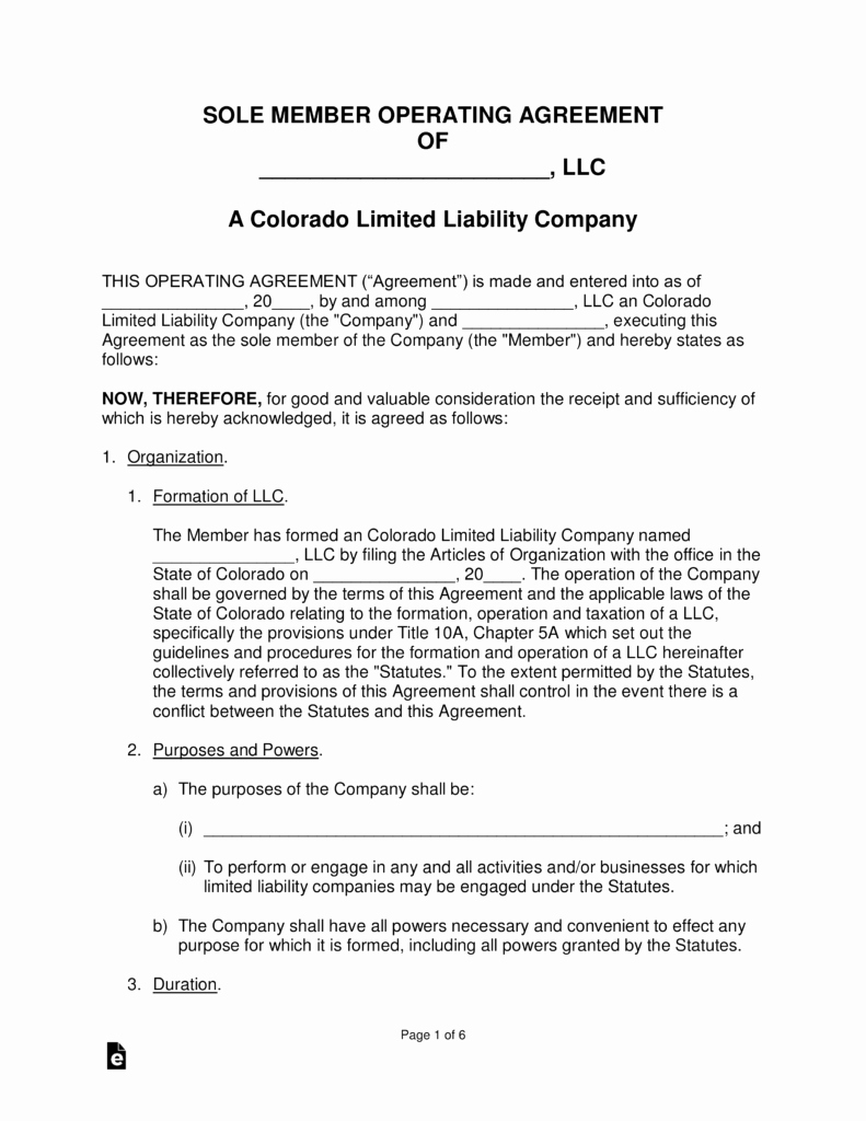 Colorado Single Member Llc Operating Agreement form