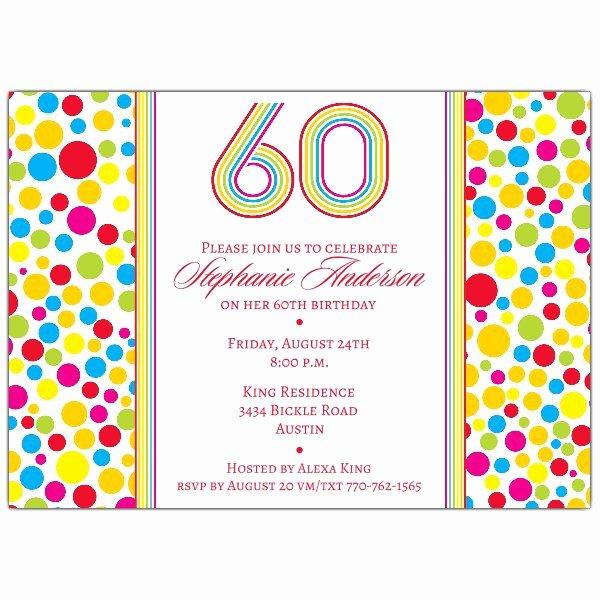 Colorful Dots 60th Birthday Invitations