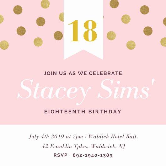 Colorful Emoji Confetti 18th Birthday Invitation