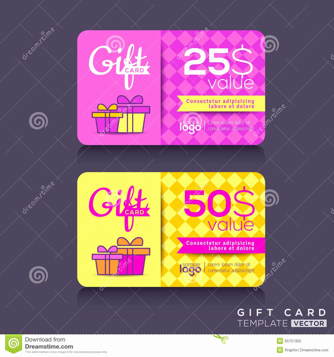 Colorful Gift Card Design Template Stock Vector Image
