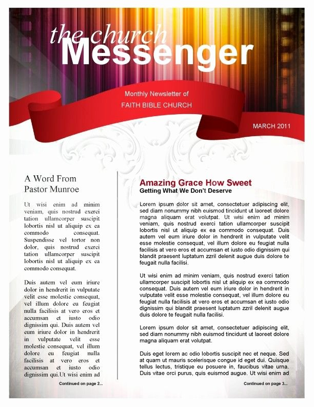 Colors Church Newsletter Template Page 1
