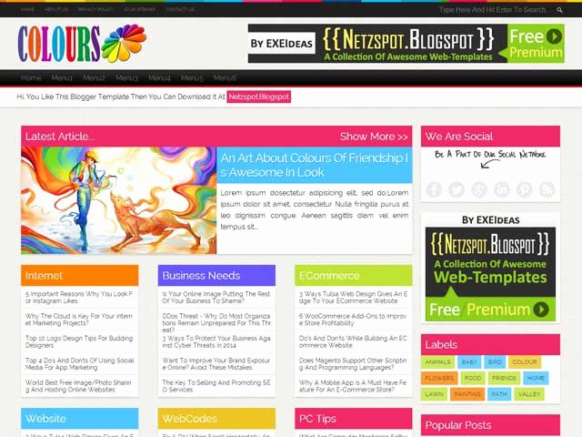 Colours A Free Premium Responsive Blogger Template