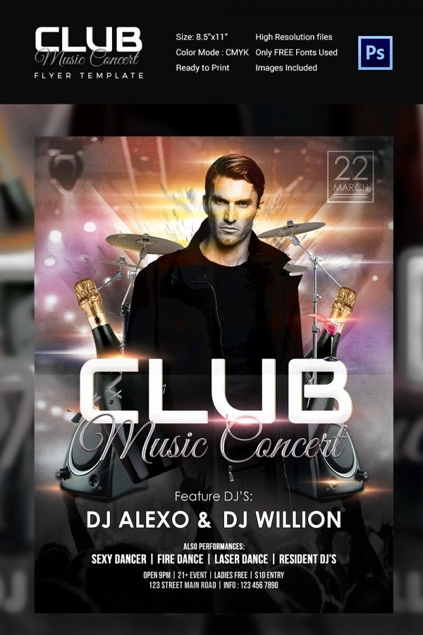 Concert Flyer Template 35 Psd format Download