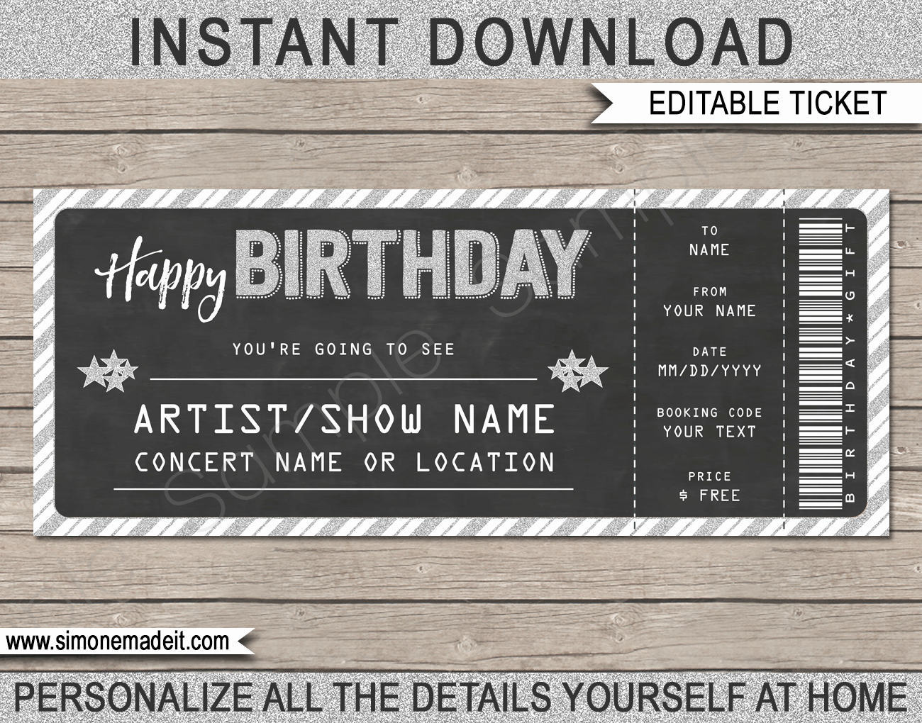 Concert Gift Tickets Template