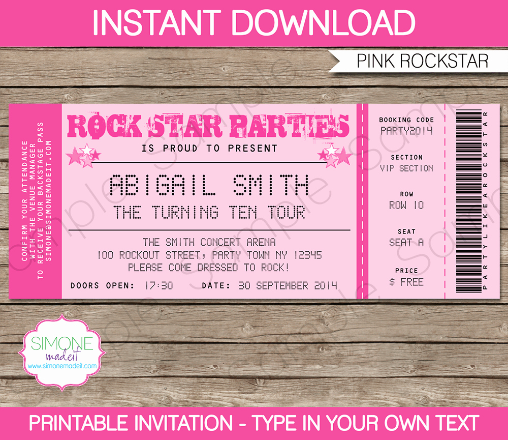 Concert Ticket Invitation Templates