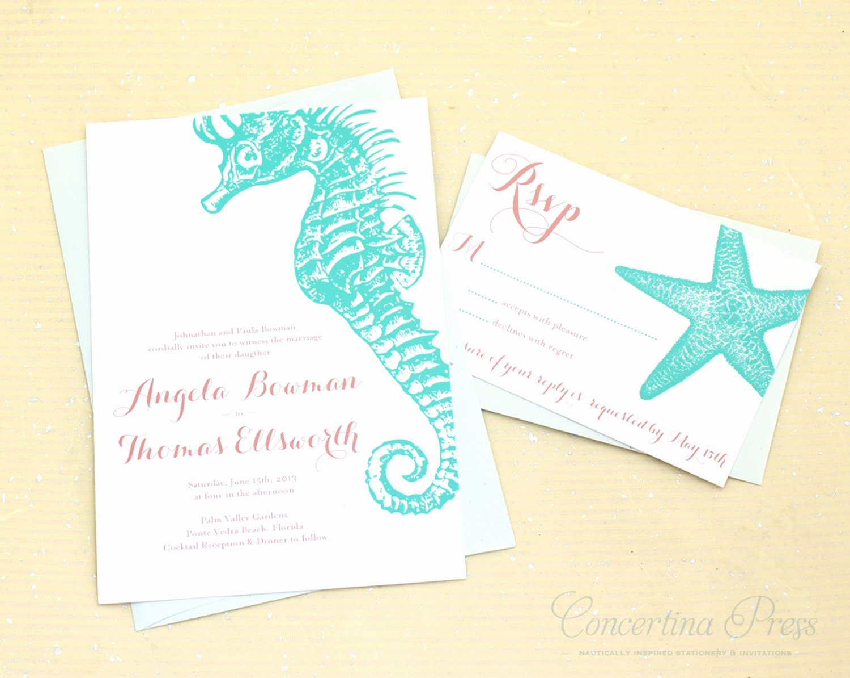 Concertina Press — Seahorse and Starfish Beach Wedding