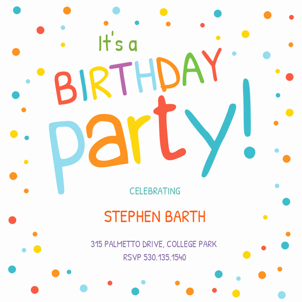 Confetti Dots Border Free Birthday Invitation Template