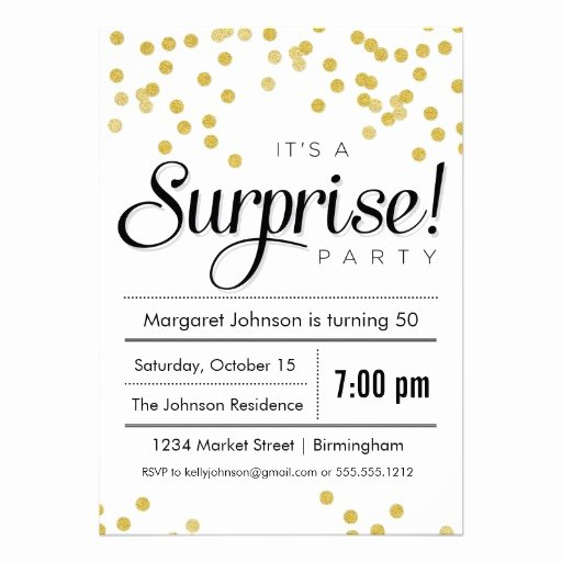 "Confetti Surprise Party Invitation 5"" X 7"" Invitation Card"