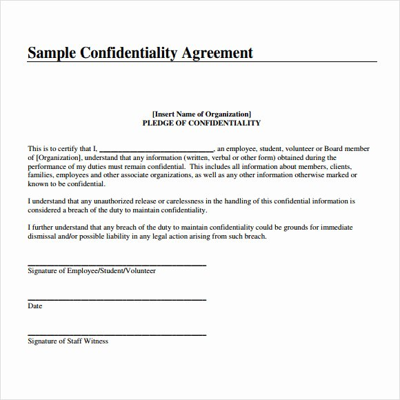 Confidentiality Agreement Template 9 Download Free