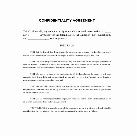 Confidentiality Agreement Templates 9 Free Word
